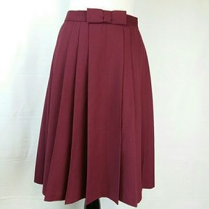 Alex Marie Bow Tie Waist Pleated Knee Length Skirt